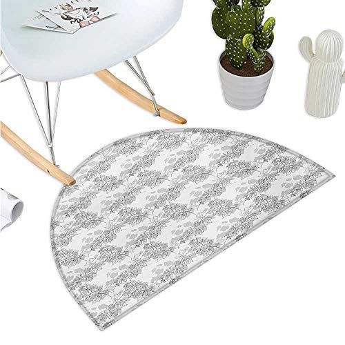 (Grey Semicircular Cushion Spherical Disc Shaped Internal Pitch Bowls Spiral Mesh Hoop Concept Design Print Entry Door Mat H 23.6