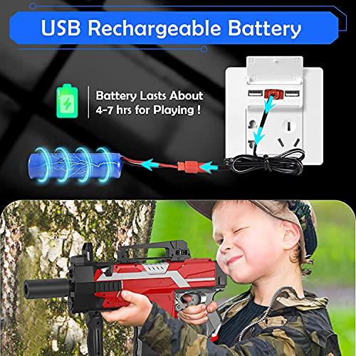 Pistola Giocattolo per Nerf Dardi, Pistola Elettrico con 100 Dardi, Bersaglio, Batteria Ricaricabile e Polsino, Pistole Blaster 3 velocità, Regalo per Bambini/Ragazzo/Ragazza/Adulti
