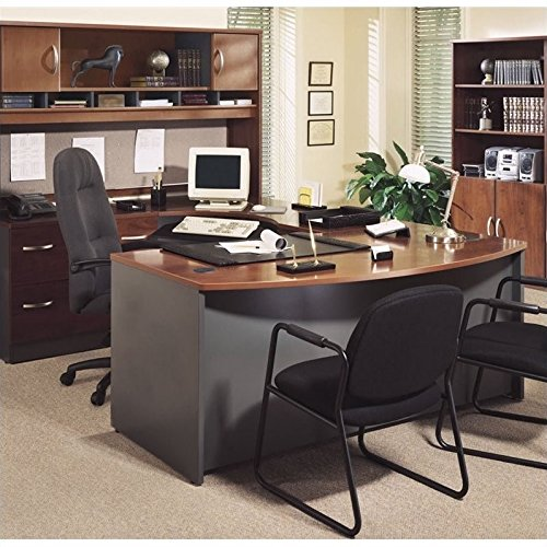 Bush Business Series C 4-Piece U-Shape Bow-Front Desk in Hansen Cherry by Bbf