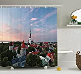 Ambesonne Wanderlust Decor Collection, Sunset Sun Lights Coloring Clouds over Old City Center of Tallinn Estonia Scenery Picture, Polyester Fabric Bathroom Shower Curtain Set, 75 Inches Long, Blue