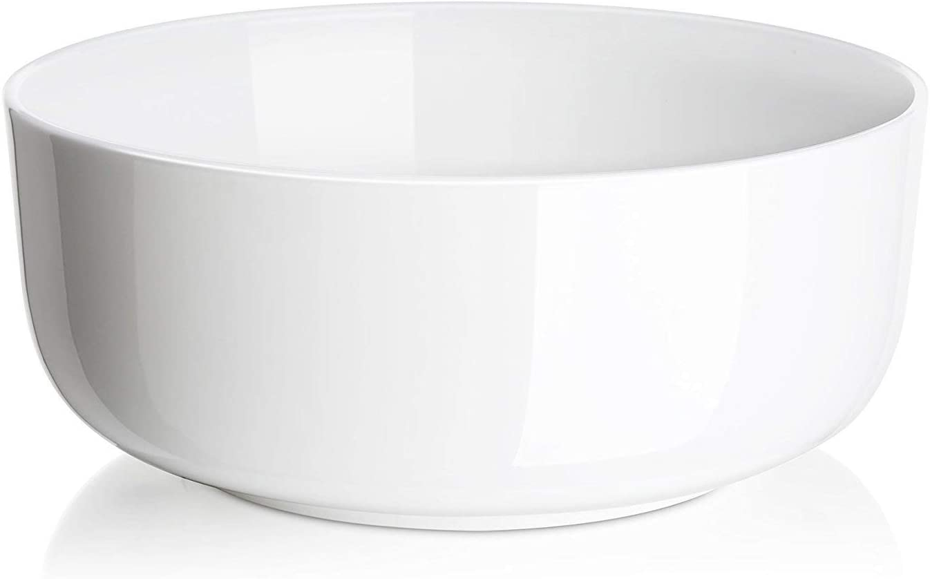 (2 Packs) DOWAN 1.5 Quarts Porcelain Serving Bowl Set, Soup and Salad Bowls, White