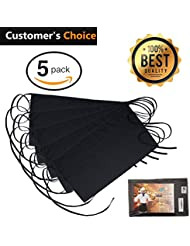 "Black Waitress Apron - 5 pack with 3 Pockets: 7.9x6.5"" – Commercial Grade 35% Cotton & 65% Polyester – Professionally Hemmed Edges to Last – Smart Look, Low Crease – Machine Wash, Iron, Quick Dry"