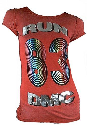 Amplifiés 80 Coutures Vip Extérieures Merchandise Rouge Kult Star Run Argent Official shirt En Tunique Imprimé Pochettes Rock Lady Viscose Vintage Rockstar Hip Pour Dmc Femme Rap Bleached Hop T Red rTfqFr