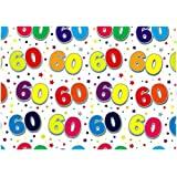 BIRTHDAY WRAPPING PAPER - 2 SHEETS OF GIFT WRAP & ONE TAG - 60th BIRTHDAY - SE2632 by Simon Elvin