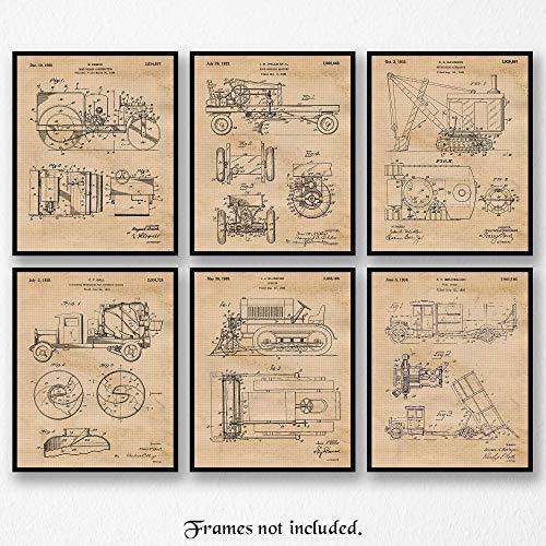 Vintage Construction Trucks Patent Poster Prints, Set of 6 (8×10) Unframed Photos, Wall Decor Gifts Under 20 for Home, Office, Garage, Man Cave, Shop, Teacher, College Student, Transportation Fan