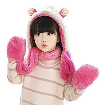 Kids Girls Cartoon Scarves Hat Gloves 3-in-1 Set Winter Super Soft Plush Full Hood Cap Warm Thermal Fleece Hats with Ears, Pocket, Scarf , Christmas Gifts for Boys and Girls