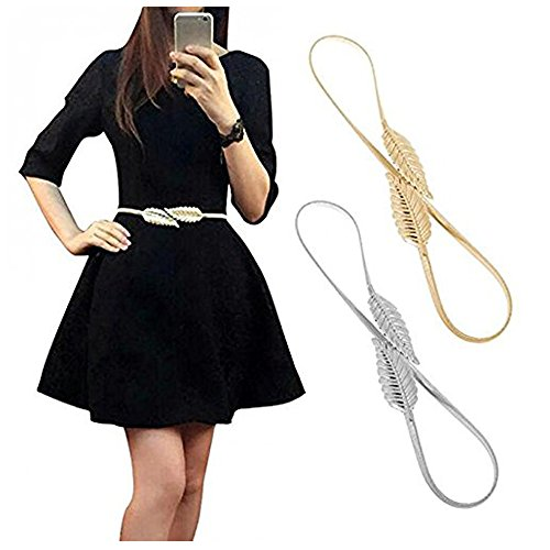 VITORIA'S GIFT Womens Stretch Waist Strap Cummerbund Leaf Clasp Stretch Belt(2 PCS)]()