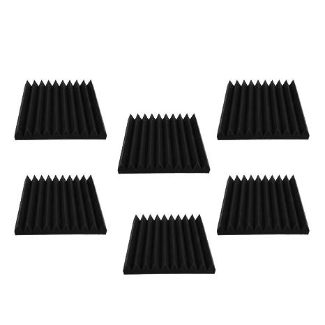 Sharplace Estudio 6 Piezas Paneles Espuma Acústica Nosie Humidificación Espuma Negro