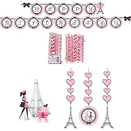 Party in Paris Party Decorations Supply Pack - Straws, Hanging Cutouts, Banner, and Centerpiece -