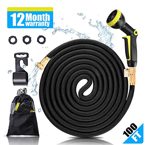 YJHY Garden Hose 100ft Kink Free Hose Lightweight Flexible Watering Hose Expandable Hose Garden with Solid Brass Connector for Pets Bathing and Garden Watering (Black)