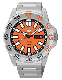 Seiko 43mm Sports 5 Automatic 24-Jewel Watch with Day and Date, Orange Dial SRP483K1