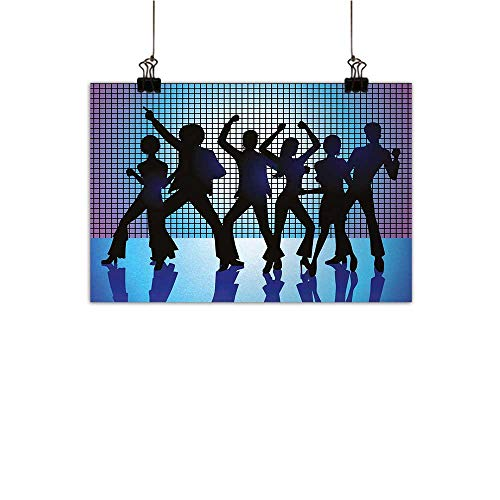 Anzhutwelve 70s Party Art Oil Paintings Silhouettes of Couples Dancing in Night Club Energetic Classic Art Print Canvas Prints for Home Decorations Aqua Black Purple 35