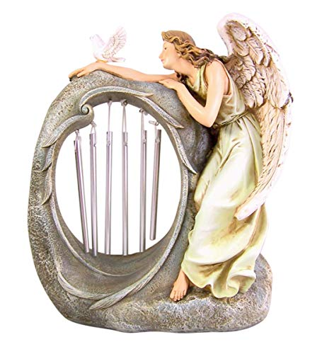 Cast Resin Guardian Angel Wind Chime Garden Statue, 10 3/4 Inches
