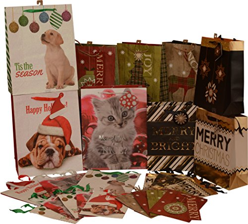 Christmas Gift bags, set of 2 dozen bags, animal prints; large variety of patterns, small medium and large