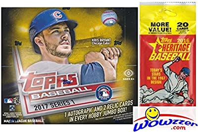 2017 Topps Series 1 MLB Baseball ENORMOUS Factory Sealed HOBBY HTA JUMBO Box with 500 Cards and AUTOGRAPH & 2 RELIC Cards Plus BONUS 2016 Topps Heritage Baseball Fat Pack! Absolutely Loaded! Wowzzer!
