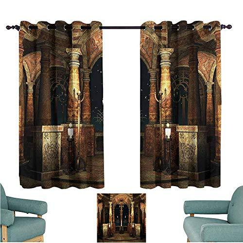 Agoza Indoor/Outdoor Curtains Gothic Ancient Hall Pillars Energy Efficient, Room Darkening W72x72L ()