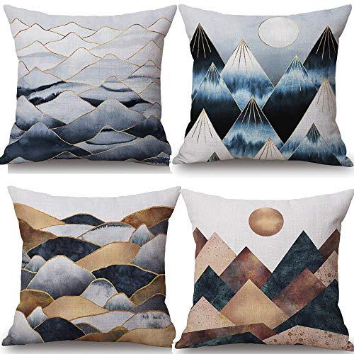 - QINU KEONU 4 Pack Modern Simplicity Mountain Sun Moon Cotton Linen Pillowcase Cotton Linen Throw Pillow Case Cushion Cover Home Sofa Decorative 18 X 18 Inch (53)