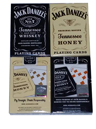 Lot 2 Jack Daniels Black & Gold Tennessee Honey Whiskey Playing Cards