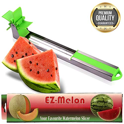 EZ Melon Stainless Steel Watermelon Slicer - Melon and Cantaloupe Fruit Slicer, Carver, Cutter, Knife - Carving and Cutting Tools for Home, Professional Restaurant Chefs - Easy Grip Kitchen Gadgets ()