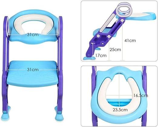 KJGFD Asientos WC Escalera WC Orinal Bebe Reductor del tocador de niños Asiento para WC con escalón Plegable Orinal Formación(Color Azul),a: Amazon.es: Hogar
