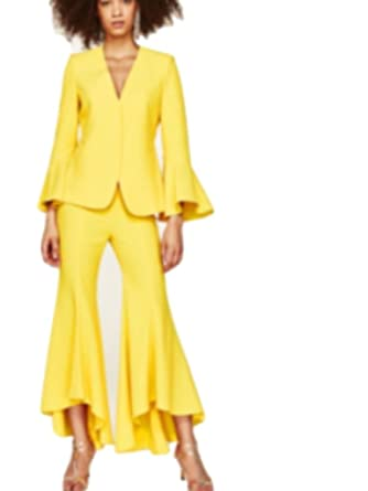 71e17583 Zara Asymetric Flared Trousers XS Yellow at Amazon Women's Clothing ...