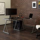 Walker Edison Modern Corner Glass Computer Gaming Gamer Command Center Desk, 51 Inch, Smoke