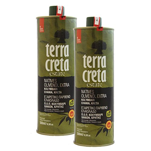 Terra Creta | Multiple Global Award Winning Extra Virgin Olive Oil | Current Harvest 2017-2018 | Single Estate Olive Oil | 500ml X 2 Tins | Pack of 2 by Terra Creta