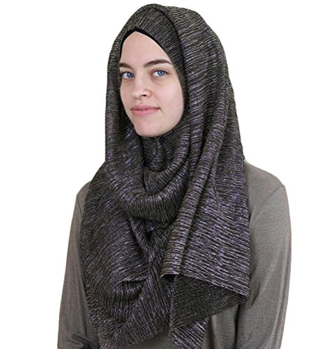 Islamic Women's Turkish Armine Shimmer Pleated Hijab Shawl Black (Black / Gold) ()