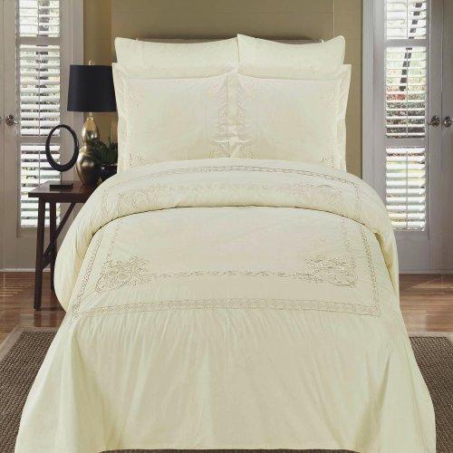 Athena Silk Pillow - Athena Ivory Embroidered California King Size Duvet cover Set, 100% Egyptian Cotton