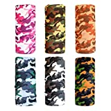 Cool Pack of 6 Pcs Seamless Style Camo Bandanna Headwear Scarf Wrap Neck Gaiters. Perfect for Running & Hiking, Biking & Riding, Skiing & Snowboarding, Hunting, Working Out & Yoga for Women and Men (Color 9)