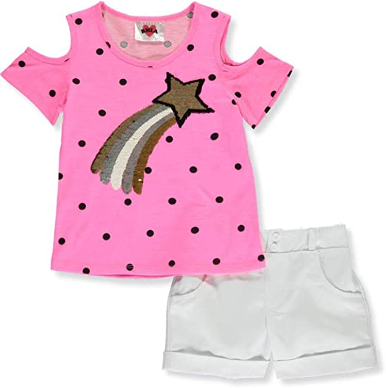 RMLA Girls/' Chambray and Stripes 2-Piece Shorts Set Outfit with Sequins