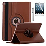 New iPad 9.7 2017 Case - AiSMei Rotating Stand Case Cover with Auto Sleep Wake for Apple 9.7 inch New iPad 2017 [A1822, A1823], Also Fits iPad Air 2013 [A1474,A1475,A1476] - Brown