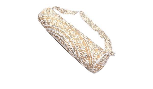 Hecho a mano indio algodón Mandala Hippie Ombre portátil Yoga Mat Bolsa Gimnasio Bolsa Diseño Bolso de mano y hombro Mujer Bolsa (size-27