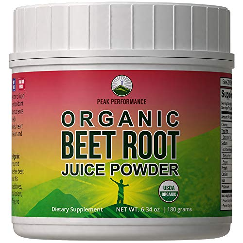 (Organic Beet Root Powder - Highest Quality Super Food Beets Juice Powder. 100% Pure Organic Nitric Oxide Boosting Beetroot Supplement. Keto, Paleo, Vegan Organic Reds Superfood Rich in Polyphenols)