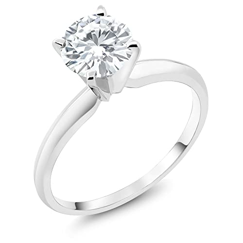 Charles & Colvard Moissanite 6mm 0.75ct 14K White Gold Engagement Solitaire Ring (Available ...