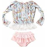 ZYZF Kids teens Girls Tankini Bikini Swimwear Floral Swimsuit Rash Guard UPF 50+ UV