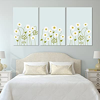 3 Panel Canvas Wall Art - Small White Flowers on Light Green Background - Giclee Print Gallery Wrap Modern Home Art Ready to Hang - 24