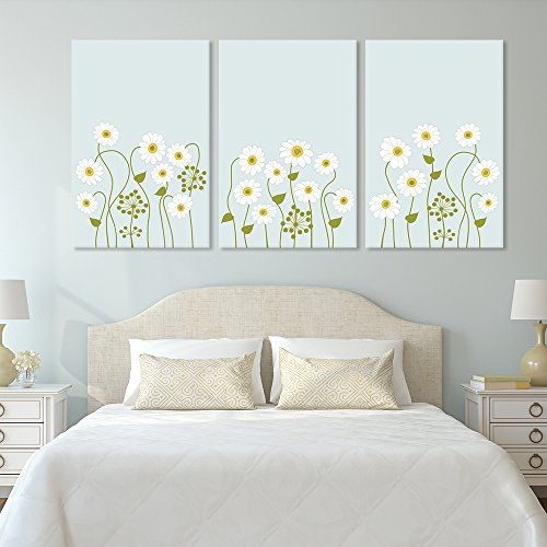 3 Panel Small White Flowers on Light Green Background x 3 Panels