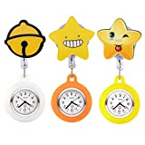 Top Plaza 3 Pcs Girls' Kid's Cute Lovely Cartoon Pattern Silicone Clip on Fob Brooch Hanging Easy Pull Clasp Stretch Analog Quartz Pocket Nurse Watches #2