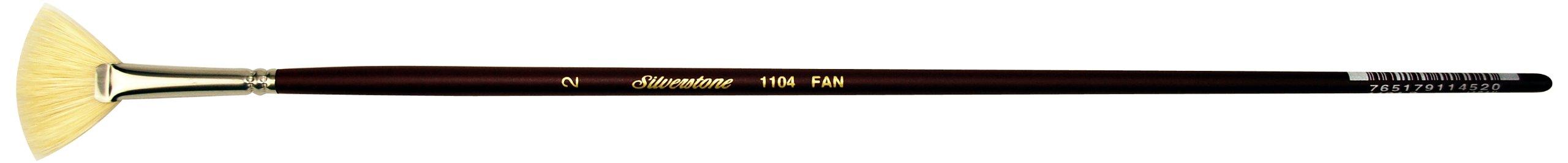 Silver Brush 1104-2 Silverstone Excellent Long Handle Hog Bristle Brush, Fan, Size 2