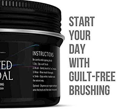 Activated Coconut Charcoal Powder W/ 100% Natural & Magical Teeth Whitening Formula - Eco Friendly Packaging - Safe & Effective Teeth Whitener Helps Fighting Cavities, Plaque & Gingivitis