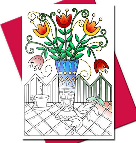 Art Eclect Adult Coloring Greeting Cards for Birthdays and Thank You Note Cards | 10 Unique Designs to Color and Send | With Envelopes Included | From The Garden - Fuchsia