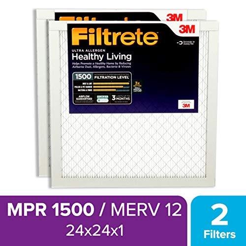 MPR 1000 AC Furnace Air Filter Micro Allergen Defense Filtrete 12x12x1 2-Pack