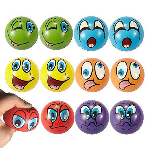 ca66f24a6 Emoji Stress Balls 12 PCS Fun Emoji Squeeze Ball Happy Face Stress Ball 2.5  Inch Foam