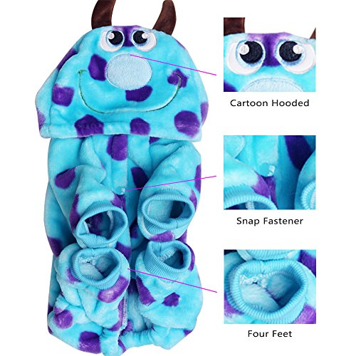 LUCKSTAR Blue Fashionable Pet Supplies Puzzle Bobble Style Pet Flannelette Winter Clothes with Hat Dog Costume Warm Casual Coat Hoodie for Dog (XS) by LUCKSTAR (Image #4)