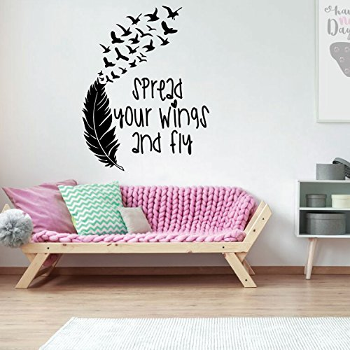 Decal - Spread Your Wings And Fly - Vinyl Decor for Playroom or Children's Room Decoration ()