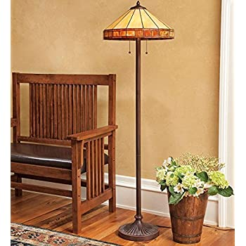 Tiffany Style Stained Glass Mission Style Floor Lamp