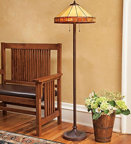 Tiffany style stained glass mission style floor lamp for Mission style flooring