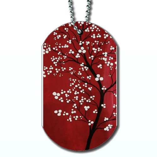 (Tree of White Blossoms - Dog Tag Necklace)