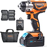 VonHaus 20V Cordless 1/4' Impact Driver Set with 3000 RPM Speed, LED Light and 37pc Driver Bits - 3.0Ah Battery and Charger Kit Included
